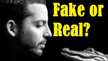"David blaine's picture with a crocodile and a text ""fake or real"""