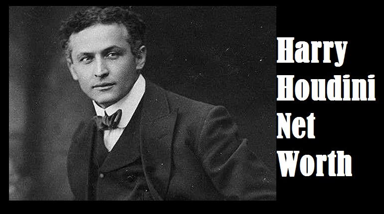 "Picture of harry houdini with a text""harry Houdini net worth"""
